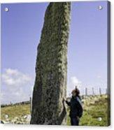 Tourist Admires The Trushal Stone Acrylic Print