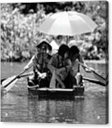 Tourist Boating Thru Tam Coc Bw Acrylic Print