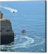 Tourist Boats And Cliffs In Algarve Acrylic Print