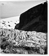 tourist couple at the end of Skaftafell glacier Vatnajokull national park in Iceland Acrylic Print
