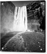 Tourists And Double Rainbow At Skogafoss Waterfall In Iceland Acrylic Print