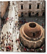 Tourists At Dubrovnik's Onofrio's Fountain Acrylic Print