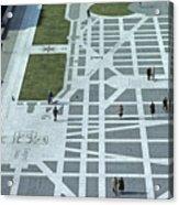Tourists Walking Along Freedom Plaza Acrylic Print
