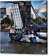 Tower Bridge And Boat Acrylic Print
