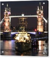 Tower Bridge And Hms Belfast Acrylic Print