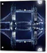 Tower Bridge In London By Night  Acrylic Print