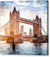 Tower Bridge In London, The Uk At Sunset. Drawbridge Opening Acrylic Print