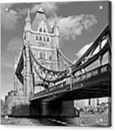 Tower Bridge Vertical Black And White Acrylic Print
