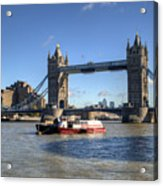 Tower Bridge With Canary Wharf In The Background Acrylic Print