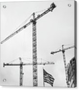 Tower Cranes Bw Construction Art Acrylic Print