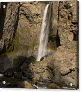 Tower Falls And Rainbow Acrylic Print