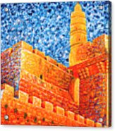 Tower Of David At Night Jerusalem Original Palette Knife Painting Acrylic Print