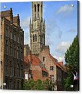 Tower Of The Belfrey From The Canal At Rozenhoedkaai Acrylic Print