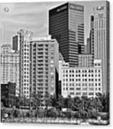 Tower Over Pittsburgh In Black And White Acrylic Print
