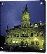 Town Hall At Night In Manchester Acrylic Print