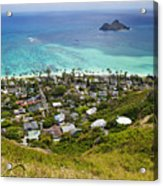 Town Of Kailua With Mokulua Islands Acrylic Print by Inti St. Clair