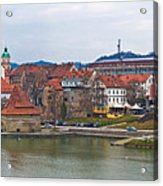 Town Of Maribor Riverfront Panoramic  Acrylic Print