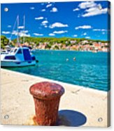 Town Of Tisno Harbor And Waterfront Acrylic Print