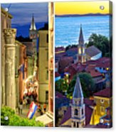 Town Of Zadar Evening And Sunset Travel Collage Acrylic Print