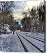 Tracks Into The Sunset Acrylic Print