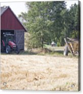 Tractor At A Wheat Field Acrylic Print