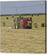 Tractor Bailing Hay In A Field At Harvest Time Pt Acrylic Print