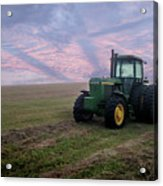 Tractor In A Field - Early Morning Acrylic Print