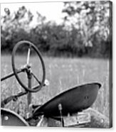 Tractor In Long Grass Acrylic Print