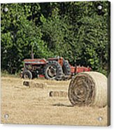 Tractor In The Hay Field Acrylic Print