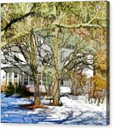 Traditional American Home In Winter Acrylic Print by Lanjee Chee