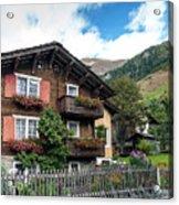 Traditional Swiss Alps Houses In Vals Village Alpine Switzerland Acrylic Print