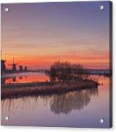 Traditional Windmills At Sunrise, Kinderdijk, The Netherlands Acrylic Print