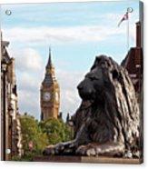 Trafalgar Square Lion With Big Ben Acrylic Print