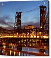 Traffic Light Trails On Steel Bridge Acrylic Print