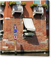 Traffic Signs On The Canal In Venice Italy Acrylic Print
