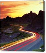 Traffice On Highway, Sunset (long Exposure) Acrylic Print