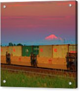 Train And Mount Baker Acrylic Print