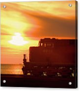 Train And Sunset Acrylic Print