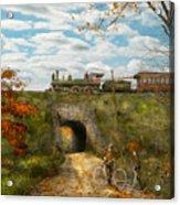 Train - Arlington Nj - Enjoying The Autumn Day - 1890 Acrylic Print