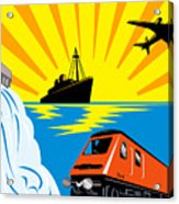 Train Boat Plane And Dam Acrylic Print