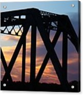 Train Bridge Sunset Acrylic Print