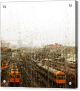 Train In The Rain Acrylic Print