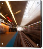 Train Station In Motion Acrylic Print