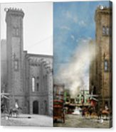 Train Station - Look Out For The Train 1910 - Side By Side Acrylic Print