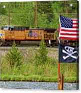 Train The Flags Acrylic Print