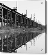 Train Track Reflections Acrylic Print