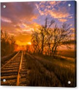 Train Track Sunrise Acrylic Print
