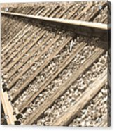 Train Tracks Sepia Triangular  Acrylic Print