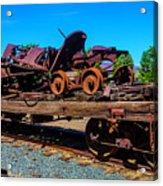 Train Wreckage On Flat Car Acrylic Print