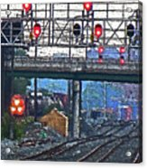 Trains Go Here Acrylic Print